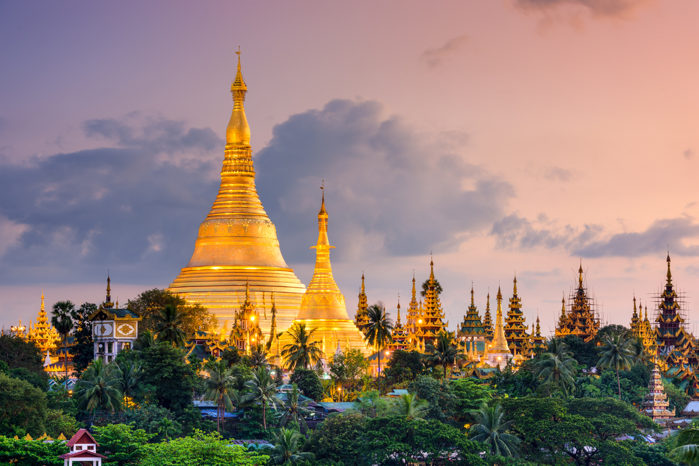 Yangon, Myanmar view of Shwedagon Pagoda at dusk.